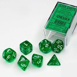 Chessex: CHX 23075 - Translucent Green/White Polyh