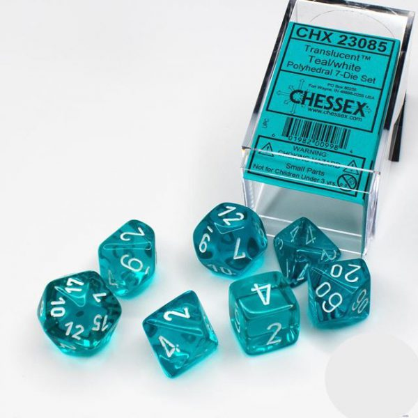Chessex: CHX 23085 - Teal/White Polyhedral 7-Die S