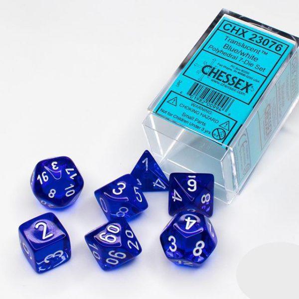 Chessex: CHX 23076 Blue/White Polyhedral 7-Die Set